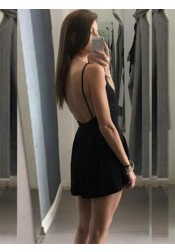 A-Line Spaghetti Straps Backless Elastic Satin Little Black Dress