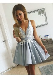 A-Line V-Neck Pleated Light Blue Satin Homecoming Dress with Appliques