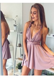 A-Line Deep V-Neck Short Blush Elastic Satin Convertible Style Homecoming Dress