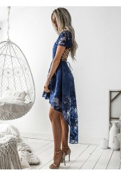 A-Line V-Neck Short Sleeves Blue Lace Homecoming Dress