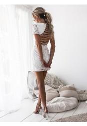 Sheath Bateau Cap Sleeves Short Cut Out Lace Homecoming Dress