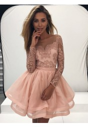 A-Line Bateau Pearl Pink Tulle Homecoming Dress with Appliques Sleeves