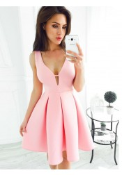 Simple A-Line V-Neck Short Pleated Pink Satin Homecoming Dress