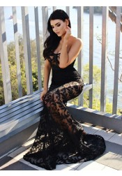Mermaid Strapless Sweep Train Black Lace Evening Dress