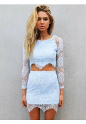 Two Piece Round Neck Short Blue Lace Homecoming Dress