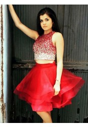Two Piece Round Neck Red Tulle Homecoming Dress with Beading
