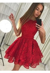 A-Line Round Neck Short Red Lace Homecoming Party Dress