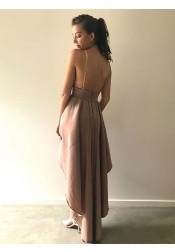 A-Line Spaghetti Straps High Low Blush Satin Homecoming Dress