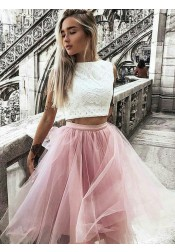 Two Piece Bateau Pink Tulle Homecoming Party Dress with Lace