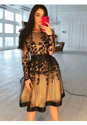 Bateau Knee Length Black Homecoming Party Dress with Long Sleeves Appliques