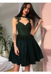 Pleated Cut Out Dark Green Homecoming Prom Dress with Lace