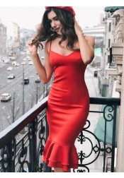 Sheath Spaghetti Straps Red Satin Homecoming Dress with Ruffles