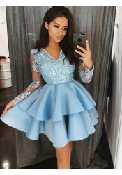 A-Line V-Neck Tiered Blue Satin Homecoming Dress with Appliques