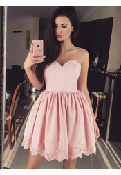 A-Line Sweetheart Pink Satin Homecoming Party Dress with Appliques
