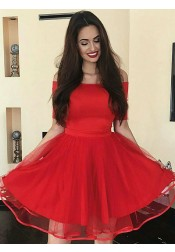 A-Line Off-the-Shoulder Short Red Homecoming Party Dress