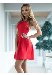 A-Line Scoop Pleated Short Red Satin Homecoming Party Dress
