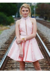 A-Line High Neck Pleats Pink Satin Homecoming Dress with Beading Keyhole