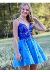 Spaghetti Straps Low Cut Blue Homecoming Dress with Appliques Beading