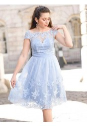 A-Line Scalloped-Edge Blue Tulle Homecoming Dress with Appliques