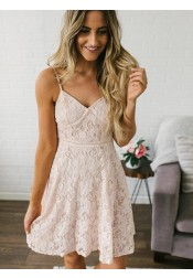 Spaghetti Straps Short Pearl Pink Lace Homecoming Party Dress