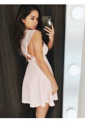 A-Line Spaghetti Straps Short Pink Satin Homecoming Dress with Lace