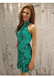 Sheath Round Neck Green Sequined Homecoming Dress with Open Back