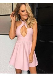 A-Line Halter Short Pink Satin Homecoming Party Dress with Keyhole