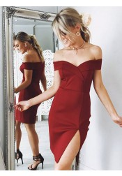 Sheath Off-the-Shoulder Red Satin Homecoming Party Dress with Split