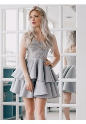 A-Line Spaghetti Straps Tiered Grey Satin Homecoming Dress with Appliques