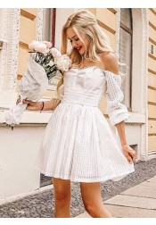 A-Line Off-the-Shoulder White Lace Homecoming Short Dress