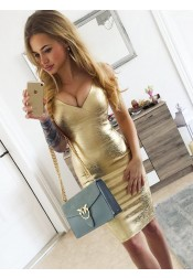 Bodycon Spaghetti Straps Knee Length Gold Satin Party Dress