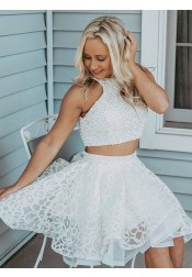 Two Piece Round Neck White Lace Homecoming Prom Dress with Beading