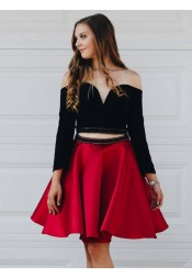 Two Piece Off-the-Shoulder Red Satin Homecoming Dress with Sleeves