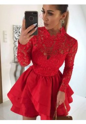 A-Line Scalloped-Edge Tiered Red Homecoming Dress with Lace Sleeves