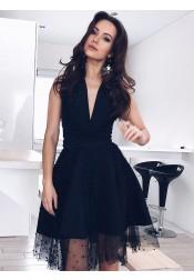 A-Line V-Neck Knee-Length Black Homecoming Dress with Beading