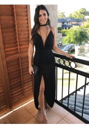 A-Line V-Neck Ankle-Length Black Homecoming Dress with Split