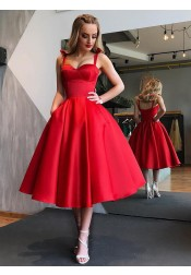 A-Line Straps Mid-Calf Red Satin Homecoming Dress with Pockets