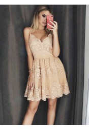 A-Line Spaghetti Straps Champagne Homecoming Dress with Appliques Beading