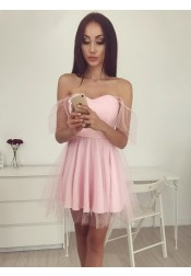 A-Line Off-the-Shoulder Short Pink Lace Homecoming Dress