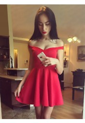 A-Line Off-the-Shoulder Short Red Satin Homecoming Dress