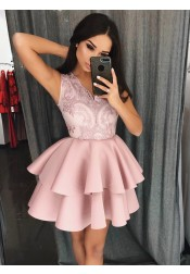 A-Line V-Neck Tiered Satin Homecoming Prom Dress with Appliques