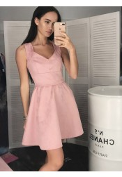 A-Line Scoop Sleeveless Pink Floral Satin Homecoming Dress