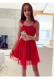 A-Line Square Above Knee Red Tulle Homecoming Party Dress