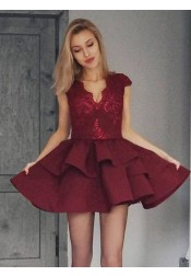 A-Line Scalloped-Edge Tiered Dark Red Homecoming Prom Dress with Lace