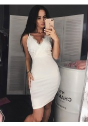 Bodycon V-Neck White Satin Homecoming Party Dress with Lace