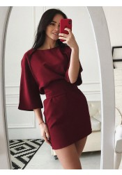 Sheath Bateau Wine Satin Homecoming Party Dress with Sleeves