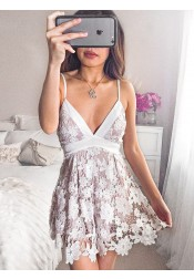 Spaghetti Straps Short Lilac Lace Homecoming Party Dress with Sash