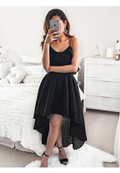 A-Line Spaghetti Straps High Low Black Lace Homecoming Party Dress