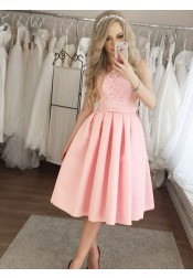 A-Line Round Neck Pleated Pink Satin Homecoming Party Dress with Lace