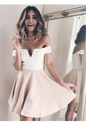 A-Line Off-the-Shoulder Short Champagne Homecoming Party Dress